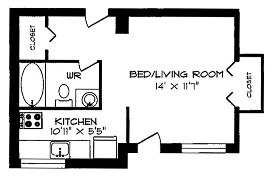 Royale apartments floorplans photos for Small apartment layout plans